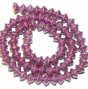 "W329 Pink Metallic 8mm Bicone Saucer Wood Beads 15"""