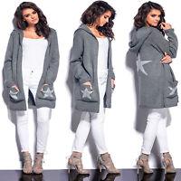 Sweatshirt Pullover Cardigan Strickjacke Longshirt Kapuzenjacke Sweat Damen Grau