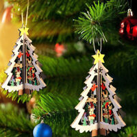 3D Wooden Christmas Tree Hanging Decor Pendant Xmas Festival Party Ornaments