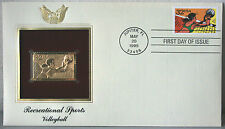 First Day of Issue Recreationa Sports Volleyball 22kt Gold Replica Stamp #111