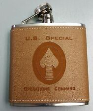 USSOCOM SOCOM DOD US Special Operations Command Logo Leather 6oz Flask