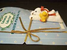Easter Package Pal on card Resin bunny & chick Gold cord ribbon 1999