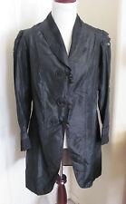 Black Silk Long Sleeve Antique Victorian  Blazer Jacket Coat Original E1900s