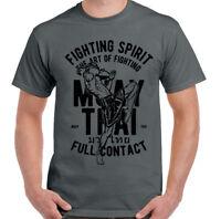 Muay Thai T-Shirt Full Contact Mens Martial Arts MMA Kick Boxing Training Top