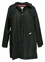 Susan Graver Women's Plus Sz 1X Water-Resistant Jacket Pop Lining Black A376242