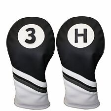 Majek Golf Headcover Black & White Leather Style 3 & H Wood & Hybrid Head Cover