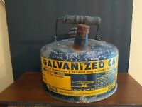 "Vintage empty Eagle Galvanized Blue Gas Can Metal 1 Gallon ""Eagle"" Model 401"