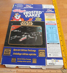 Star Wars Frosted Flakes Canadian cereal box 3D Trilogy 1996 Episode IV X-Wing
