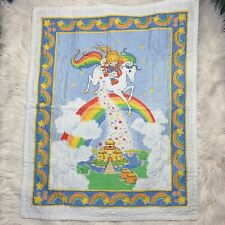 Vintage Rainbow Brite Baby Blanket Quilt Throw Handmade Bedding Wall Decor