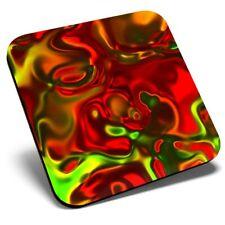 Square Single Coaster - Red Green Liquid Glass Cool  #2785