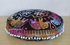 Elephant Mandala Round Floor Indian Cushion Cover Pillow Sham Ottoman Pouf Case