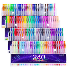 Tanmit 240 Gel Pens Set for Adult Coloring Books, Doodling, Drawing- 120 Colored