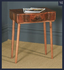 Antique English Art Deco Burr Walnut Bowed Bedside / Hall Occasional Side Table