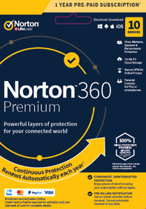 Norton 360 Premium 2021 - 10 Devices - 1 Year Subscription - Fast Email Delivery