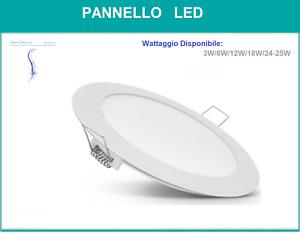 PANNELLO LED LUCE BIANCA NATURALE 3W 6W 12W 18W INCASSO ROTONDO PANEL LIGHT