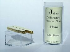 """12 Solid Brass Metal Collar Stays For Dress Shirts 2.15 & 2.5"""" Inch Jakes"""