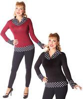 SugarShock Julyn 50s Polka Dots 2-Lagen Look retro Rockabilly Longsleeve