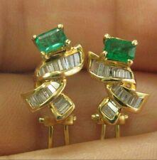 Grün Smaragd & Diamant Huggie Ohrringe 18Kt Massiv Gelbgold 2.30Ct FVVS2 16MM