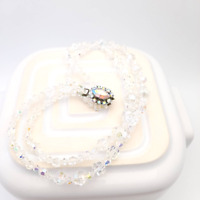 Vintage Crystal Necklace Wedding Jewelry Bride Bridesmaid Clear Glass Box Clasp