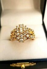 Estate Yellow Gold Cubic Zirconia Cluster Ring Sz 8 w 925 Stamp + 7.3 Gr