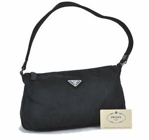 Authentic PRADA Nylon Shoulder Bag Black E0840