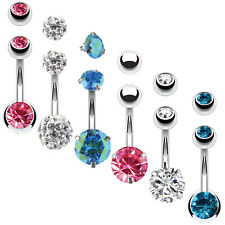 BodyJ4You 6PCS Belly Button Rings 6 Replacement Balls 14G Steel Aqua Pink CZ