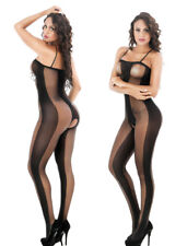 Womens Sexy Fishnet Sheer Crotchless Stretchy Body Stocking Bodysuit Lingerie