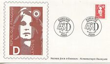 FIRST DAY COVER / PREMIER JOUR FRANCE 1991 /  MARIANNE LETTRE D / DENTELE