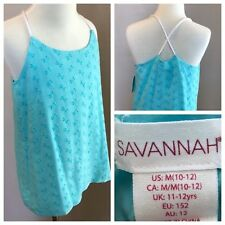 Savannah Size 10 12 Medium Top Girls Shirt Teal Eyelet Sleeveless Lined Tank New