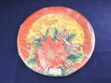 Disposable Paper Dinner Plates Christmas Holly Pack of 10 - 9.2 inch Diameter.