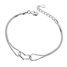 Wholesale 925 Silver Filled Bracelet Heart-Shape fashion Jewelry Girl Gift