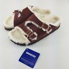 Birkenstock Zurich Size 7 Lammfell Shearling Fur Suede Slide Sandal Red