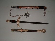 Medieval Masonic Sword + 1 Ball Battle Mace,Viking,Middle Ages, Free Shipping