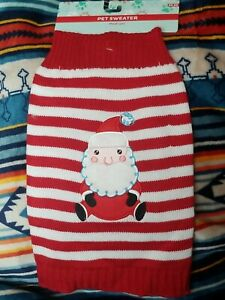 Red and White Stripe Dog Sweater with Santa face Sz Medium Christmas Holiday Pet