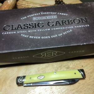 """Rough Rider Classic Carbon Yellow Doctor's Knife 3 5/8"""" Pocket Knife RR1732"""