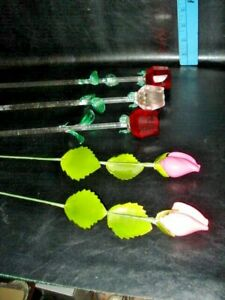 5 total =3 Long Stem 12 in. Red Glass Roses with Green Leaves, 2 china rose buds