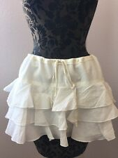 Abercrombie & Fitch White Cotton Tiered Ruffle Mini Skirt Medium Drawstring