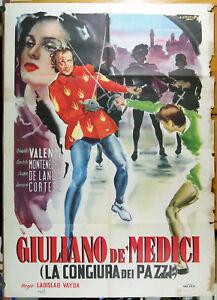 manifesto 2F film GIULIANO DE' MEDICI - CONGIURA DE' PAZZI Osvaldo Valenti 1950