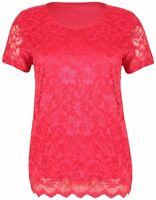 New Womens Plus Size Short Sleeve Floral Lace Lined Top T-Shirt 12-26