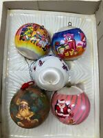 Vintage Lot 5 Satin Silk Ball Christmas Ornaments Wrapped Winter Scene Bears