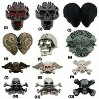 Skeleton Belt Buckle Skull Crossbones Metal Fashion Silver Tattoo Mens Women New