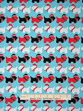 Christmas Fabric - Holiday Scottie Puppy Dogs Aqua #15269 Kaufman Jingle - Yard