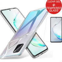 CLEAR TPU Gel Case For Samsung Galaxy Note 10 S10 Lite 2020 A71 +Tempered Glass