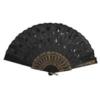 1X(Black Plastic Frame Embroidery Floral Detail Folding Hand Fan F1R1)