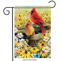 "Springtime Cardinals Double sided Garden Flag Flowers Butterfly 12.5""x18"""