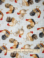 Rooster Fabric - Farm Bird Animal Rooster Blue Wilmington #44060 Behemian - Yard
