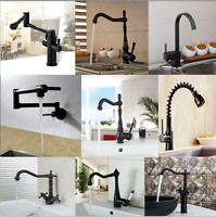 Kitchen Sink Swivel Single Dual Handles Black Deck MountMixer Faucet Brass Tap