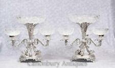 Pair Sheffield Silver Plate Epergnes Glass Dish Serpent Centrepiece
