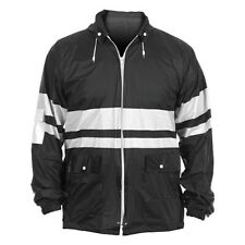 BLACK WITH WHITE STRIPES, ADULT XL, HOODED, WINDBREAKER FROM SEVEN SONS