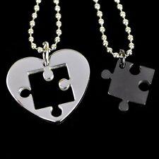 Collana per coppia CUORE Puzzle Acciaio inox 2 Ciondolo nero + 2 Catena di sfere